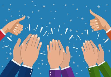 Ludzkie ręce klaskali. oklaskiwać ręce. ilustracji wektorowych w stylu płaskim. Businesswoman ręce trzyma kciuki do góry.