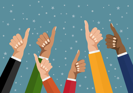 popularity: Cheering business people holding many thumbs. Like this. Flat design multicultural group thumbs up. EPS 10 vector.