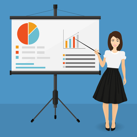 projector screen with financial report. Training staff, meeting, report, business school. vector illustration in flat style. Illustration