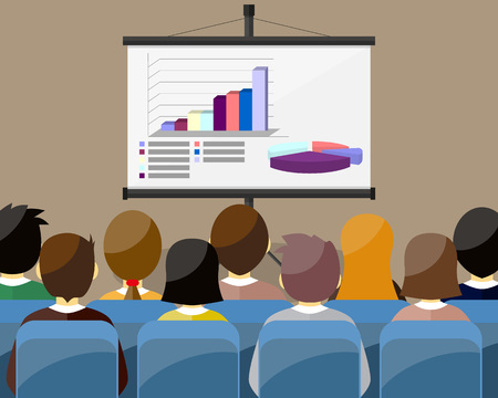 listeners: projector screen with financial report. Training staff, meeting, report, business school. vector illustration in flat style. GRAPH AND DIAGRAM - 3D Illustration