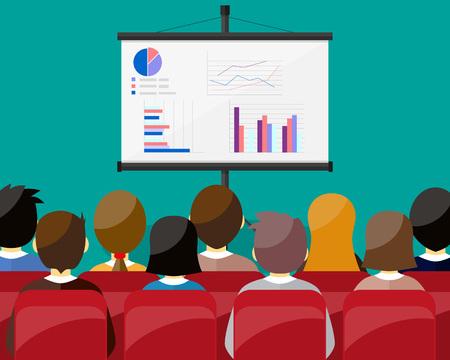 Projektor-Bildschirm mit Finanzbericht. Schulungspersonal, Treffen, Bericht, Business School. Vektor-Illustration im flachen Stil.