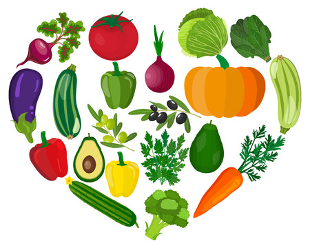 Healthy heart with healthy food diet concept. Vector illustration in flat style