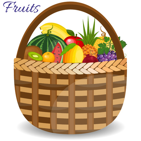 Fresh fruits organic food set still life in basket. Healthy fruits and vegetarian food banners. Fresh organic food, healthy eating Illustration