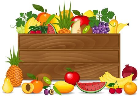 Healthy freshly harvested fruits in a wooden crate and grocery shopping concept banner. Wooden box with fresh fruits.