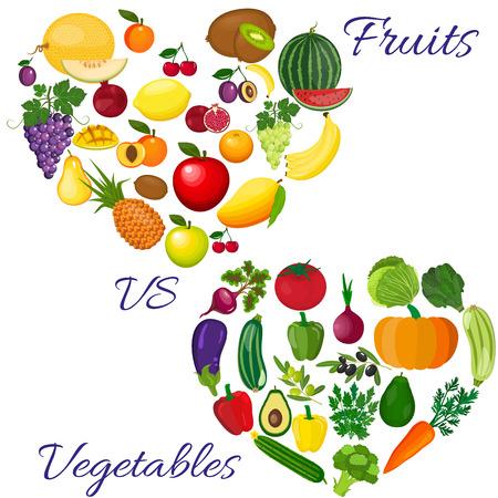 Fresh organic food. Set of vegetarian food . Vector vegetarian organic healthy food cuisine. organic natural realistic vegetable. Veggie Lover Elements Illustration