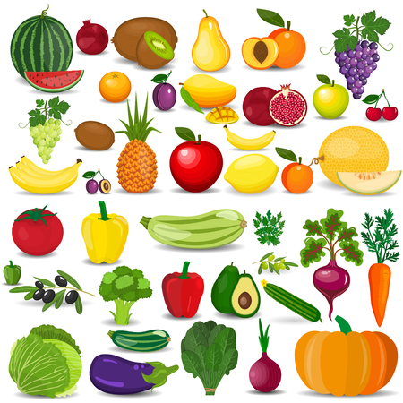 Set of vegetables and fruits. Fresh organic food, healthy eating