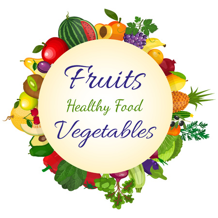 Fresh organic food, healthy eating . Vegetarian food and organic farming designor background organic natural realistic fruits and vegetables .
