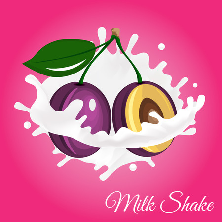 to drown: Splash of milk, caused by falling into a plum. Isolated on a pink background.