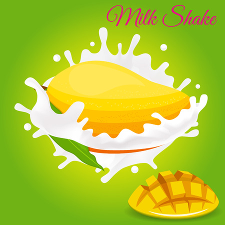 Splash of milk, caused by falling into a mango. Isolated on a green background. Stok Fotoğraf - 79172858