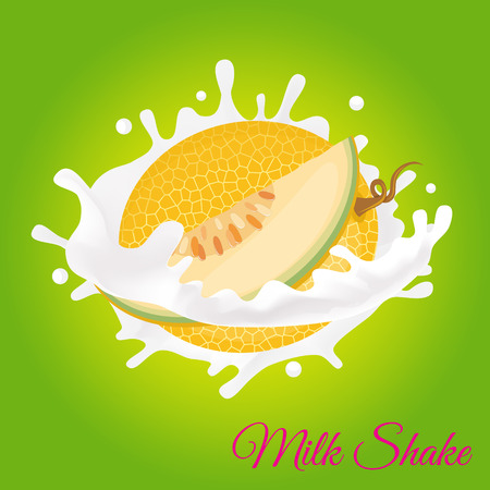 Splash of milk, caused by falling into a melon. Isolated on a green background. Stok Fotoğraf - 79227361