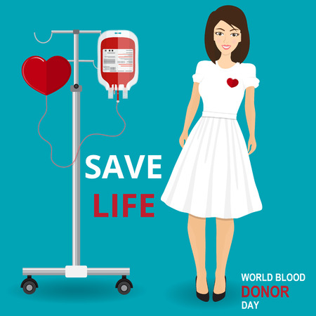 salvavidas: Give blood today. Save life. Medical and healthcare concept. Woman Doctor Takes Blood Sample From Patient, Medical, Physician, Hospital, Checkup, Healthy, Treatment, Personnel