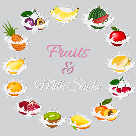 Splash of milk, caused by falling into a pear, melon, watermelon, apple, cherry, banana, kiwi, peach, pineapple, orange, garnet. Vector vegetarian organic healthy food cuisine. organic natural realistic fruit. Stok Fotoğraf - 79656391