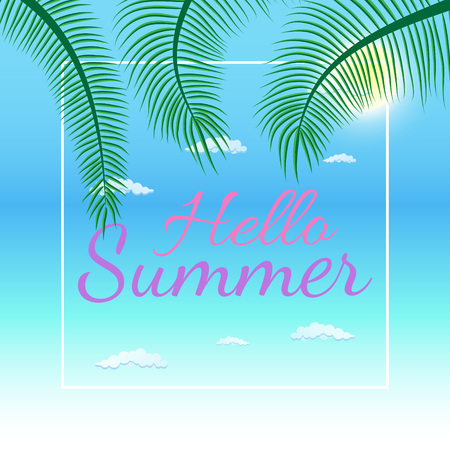 Vector summer party poster background in flat style Ilustração