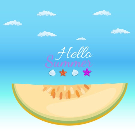 hello summer word with fruit, watermelon. Vector illustration in flat style