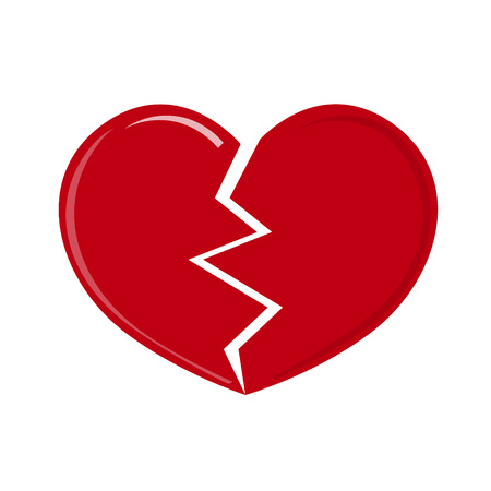 separation: Red heartbreak, broken heart or divorce flat icon for apps and websites