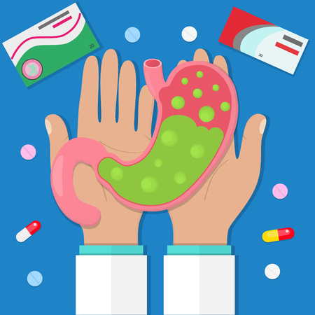 Doctor hold sick stomach with pills. Flat style. Vector illustration Illustration