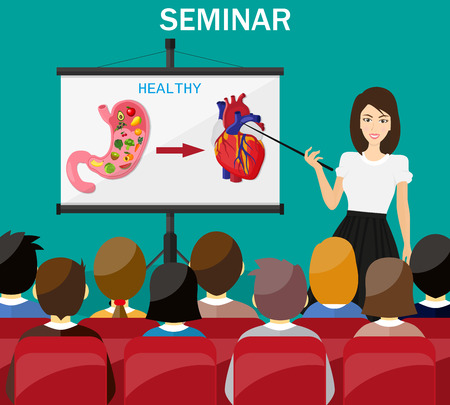 Businesswoman making presentation explaining charts. Healthy lifestyle concept. Doctor show heathy stomach and heart. Human internal organs.