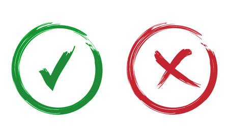 ダニとクロスのサイン。緑色のチェック マーク OK と赤い X アイコン、白い背景で隔離。
