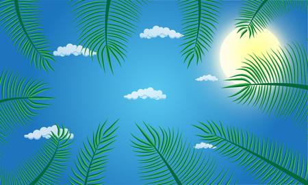 Green coconut leaf frame isolated on blue background Çizim