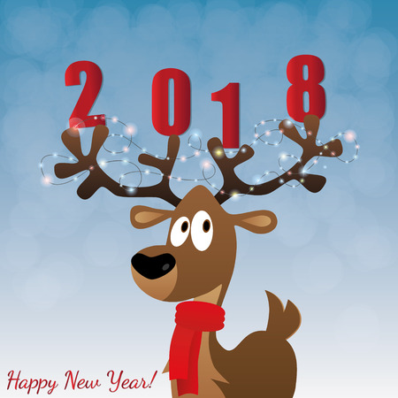 big ball: Merry Christmas card with cartoon deer, tree toys on big horns, presents, vector illustration. Happy new year