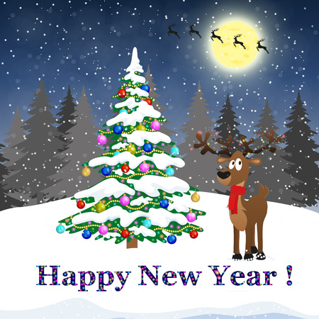 Merry Christmas and Happy New Year lettering design. We wish you Merry Christmas and Happy New Year