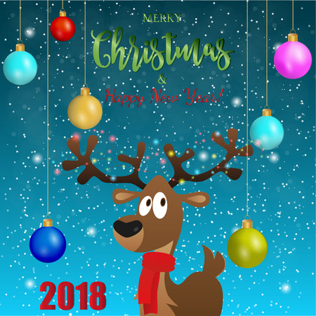 Happy deer with cristmas balls, New year 20 1 8