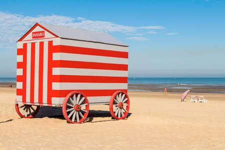 cabana: Colorfull carries changing stalls (cabana) on North sea beach, De-Panne, Belgium Stock Photo