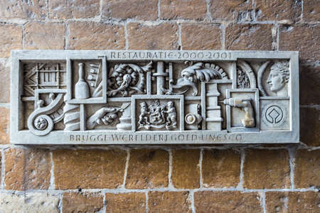 paredes de ladrillos: ladrillo viejo en Brujas, Flandes, Bélgica