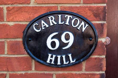 london to brighton: Metallic old number plate, Brighton, United Kingdom Editorial
