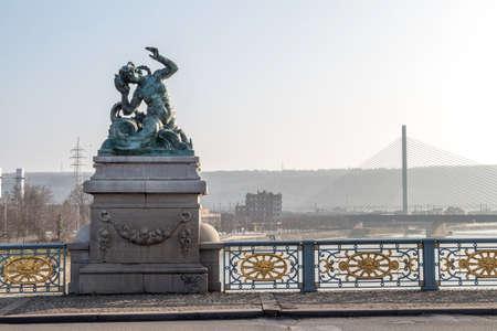 liege: Liege bridge in winter day, Belgium