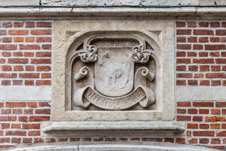 wall decor: Old historical wall decor plate in Gent, Flanders, Belgium