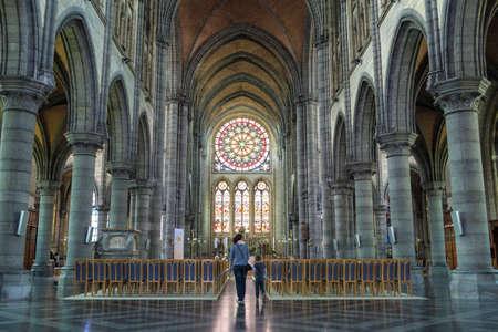 church interior: Catholic church interior stained-glass, Arlon, Belgium Editorial
