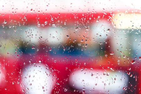 route master bus: Raindrops on double decker bus, London