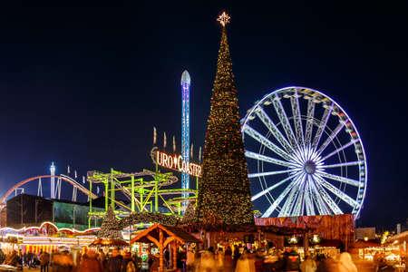 Christmas fair in Hyde park in 2016, London Editorial