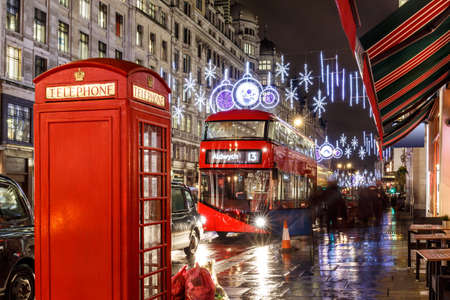 christmas lights on London street, England