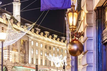 Decorated Christmas street  light, London, England Stock Photo
