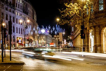trafalgar: Night street in Christmas, London