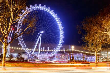 Observation wheel in the night, London Banco de Imagens