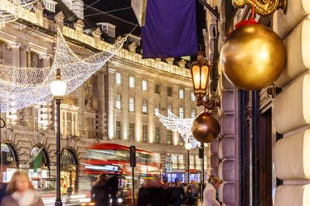 regent: Decorated Christmas street  light, London, England Stock Photo