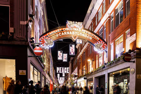 Christmas lights 2016 in Carnaby, London, England