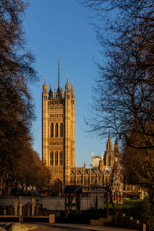 Houses of Parliament in winter morning, London, UK Editorial