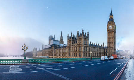 Panorama of Houses of Parliament in winter morning, London