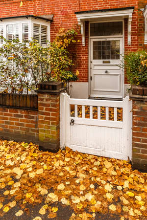 Chiswick suburb street in autumn, London, England Stock Photo