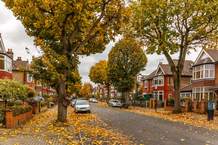 Chiswick suburb street in autumn, London, England Banco de Imagens