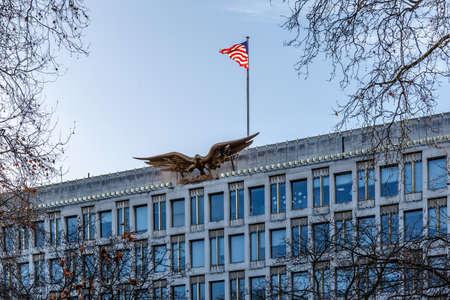 US embassy in London in winter Banco de Imagens