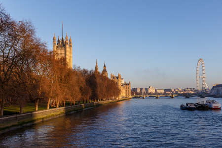 Houses of Parliament in winter morning, London, UK Stock Photo