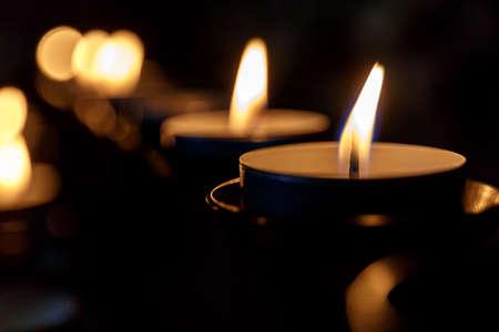 Tea candles in church, England
