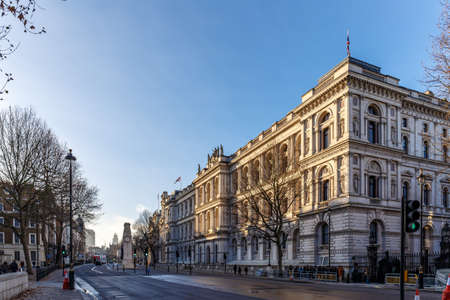 Downing street in the morning winter, London Stock Photo