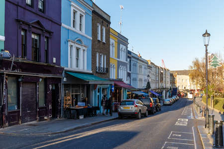 chelsea market: Portobello road in winter, London Stock Photo