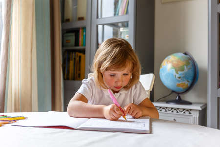 School girl at her homework